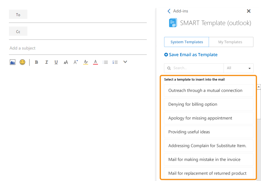 SMART Template (outlook) template list